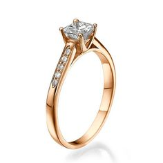 Engagement Ring Solitaire with Accents Diamond by DiamondsMine, $740.00
