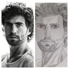 Benja Bruining (dutch actor) portrait, pencil drawing