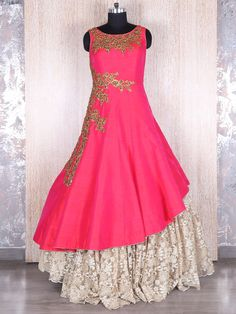 Shop Magenta silk lace designer gown online from India. Indian Wedding Gowns, Indian Gowns Dresses, Indian Outfits, Stylish Dress Designs, Stylish Dresses, Fashion Dresses, Latest Gown Design, Anarkali Dress, Anarkali Suits
