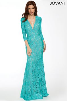 Three Quarter Sleeve Lace Gown 20025