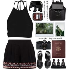 A fashion look from August 2015 by u-rbans-tyle featuring Boohoo, H&M, Barneys New York, Royce Leather, The Elephant Family, Nikon, black, GREEN, Dark, elephant...