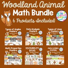 Woodland Animal Watercolor Themed Math Bundle **6 Products Included** Types Of Angles, Types Of Lines, Math Properties, Woodland Animals Theme, Math Poster, Watercolor Animals, Products, Gadget