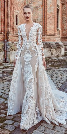 miriams bride 2018 bridal long sleeves deep v neck full embellishment glamorous elegant fit and flare wedding dress a line overskirt sheer button back royal train (4) mv -- Miriams Bride 2018 Wedding Dresses