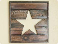 Rustic Wood Star Cutout Sign