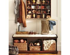 Something like this to store shoes by the door, but out of the way. And to sit to put the shoes on.