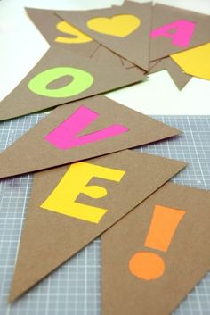 DIY Neon Cut Out Bunting