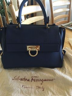Details about Salvatore Ferragamo Gancini Medium Sofia Womens Leather  Handbag 051 Blue Stone b749725a3cdef