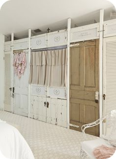 This could be done in any room to make storage.  Love this idea.
