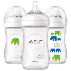 Philips Avent Elephant Natural Bottles, 9 oz, 3 ct, White