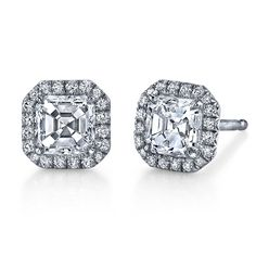 Emerson & Farrar signature collection Asscher and round brilliant cut stud earrings, 1.00ct total weight Asscher cut diamonds, 0.20ct total weight ideal cut round brilliant cut diamonds, set in platinum.