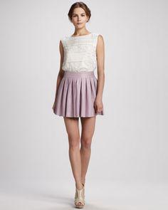 Alice + Olivia size 6:  Short Box-Pleat Leather Skirt $173 (orig 495)
