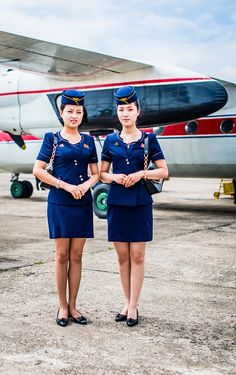 Flight attendants from Air Koryo, North Korea's national airline, seen in Chilbo