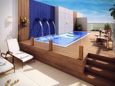 New Pool Patio Furniture Ideas Deck Design 51 Ideas Backyard Pool Designs, Small Backyard Pools, Small Pools, Swimming Pools Backyard, Swimming Pool Designs, Pool Landscaping, Outdoor Pool, Small Backyards, Rooftop Design