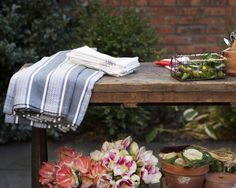 Striped Tablecloth from Lexington Company. Lexington Company, Lexington Home, Outdoor Rooms, Outdoor Decor, New England Style, Terry Towel, Fall Collections, Table Linens, Home Textile