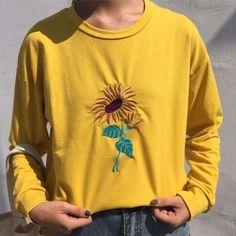 yellow Sunflower embroidered sweatshirt aesthetic soft grunge tumblr boogzel apparel