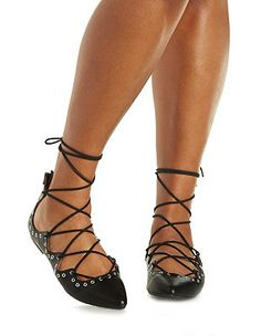 Grommet-Embellished Lace-Up Pointed Toe Flats: Charlotte Russe