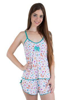 Baby Doll Linha Noite Liganete Branco Estampado Mesh Pants, Cute Pjs, Babydoll, Cute Sleepwear, Bra And Panty Sets, Maternity Dresses, Outfits For Teens, Nightwear, Lounge Wear