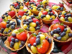 Waffle bowls with fruit