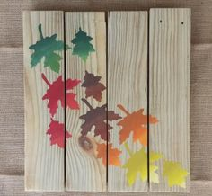 Fall Decor - Reclaimed Wood Pallet Sign - Ombre Autumn Leaves by MommyMelMadeIt for $40.00