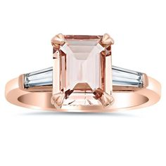 The refined grace of step-cut stones in this Emerald Cut Morganite and Baguette Three Stone Engagement Ring make an impression of incredible sophistication. Baguette Engagement Ring, Morganite Engagement, Three Stone Engagement Rings, Three Stone Rings, Engagement Ring Styles, Halo Engagement, Pear Shaped Diamond Ring, Eternity Ring Diamond, Stackable Wedding Bands