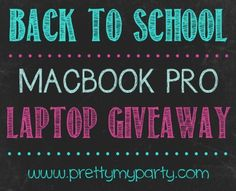 Enter the Back to School Laptop Giveaway for a chance to win a FREE Apple MacBook Pro Laptop (worth over $1,000)! End September 5, 2014 at 11:59 p.m. EST. Good luck!