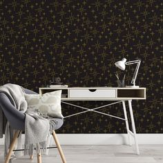 Star Pattern Peel and Stick Wallpaper - Smooth Wall Decal / 1 roll: 24W x 132H