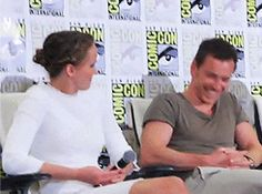Jennifer Lawrence and Michael Fassbender messing about at the X-Men press panel - Comic con 2013.gif