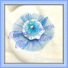 White Satin Round Yoyo with smaller Blue Organza Round Yoyo Hair Clip with Blue Tulle and Bling Gem Embellishment | Elegant Princess Clips N More