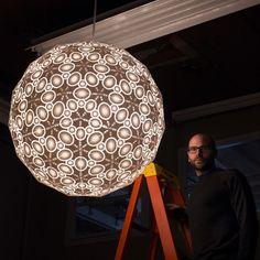 Robert Debbane & Bold Machines 3D Print 176-piece 3-foot Wide Galactica Chandelier http://3dprint.com/60057/galactica-chandelier/