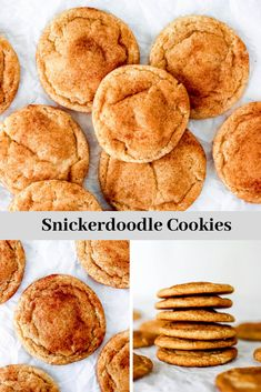 An easy recipe for classic snickerdoodle cookies. These cookies are double rolled in cinnamon sugar and bake up quickly into #chewy cookies with slightly crisp edges and pillow-soft centers. #cookies  #snickerdoodle #easy #cookierecipe #soft #baking #cinnamon
