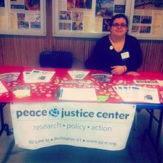 Becca is at #MMU today talking to students about #pjcvt and our programs focused on #nonviolence #peace #racialjustice and more!