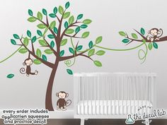This is a cute jungle tree wall decal set that is easy to apply and will brighten any room, especially a baby nursery, baby's room, kid's room, children's room, or playroom. It features vines and cute monkeys. This wall decal set is perfect for your baby's jungle themed nursery and bedding. thedecallab