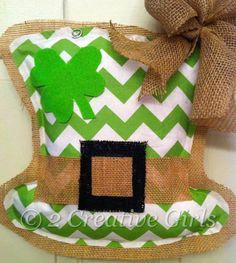 st patrick's day burlap door hangers | St Patrick's Day / Leprechaun Hat Burlap Door by 2CreativeGirls, $25 ...
