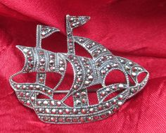 Vintage 1970's 925 Sterling Silver and Marcasite Portugese Caravel Sailing Ship Brooch by TheVintageAdvantages on Etsy