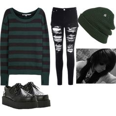 creep by twentyonejordan on Polyvore featuring polyvore, fashion, style, Pam & Gela, Glamorous, Demonia, Volcom and clothing