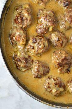 Easy Meatballs in Dijon Gravy | A Taste of Madness