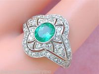 ESTATE Art Deco 1.20ctw Diamond .80ct OVÁLNÁ EMERALD PLATINUM COCKTAIL RING