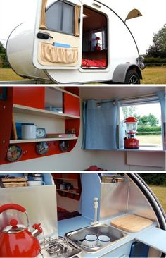 teardrop trailer with a neat pass through to the kitchen area... Would be better if there was a bug screen so it could be left open at night though. I like the magnetic containers on the shelf and the storage on the door.