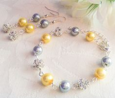 Yellow & Gray Bracelet and Earrings Set Yellow Jewelry Gray Jewelry Bridesmaid Gift Wedding by InfinityByClaire on Etsy https://www.etsy.com/listing/206640653/yellow-gray-bracelet-and-earrings-set