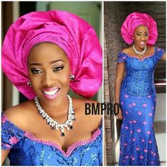 Beautiful African style and fashion, in blue and pink