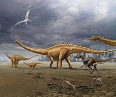 Diplodocus | Manada de Diplodocus acosada por un dinosaurio terópodo . Autor ...