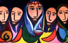 giclee print of the Lord's Supper Jesus with his by canvaschild, $60.00
