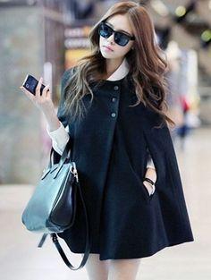 Black Fashion Womens Batwing Woolen Poncho Jacket Winter Warm Cloak Outwear