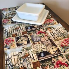 Only 2 left! Just updated the listing photos to this beautiful shabby chic cottage bird table runner! #etsy