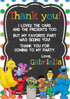 Sesame Street Birthday Thank You Card