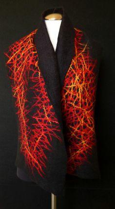 """When Madam Pele Wears Lace,"" by Merridee Smith of Auburn, CA. Merino wool and silk felted using an adaptation of Leiko Uchiyama's Pine Needles technique."