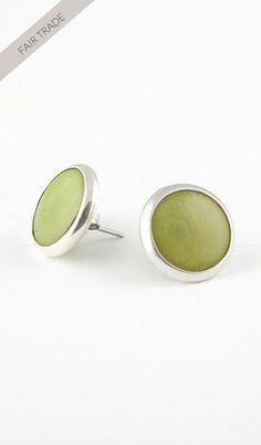 Tagua Silver Stud Earrings - Lime