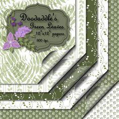 Doodaddle's digital Green Leaves scrap-booking printable papers