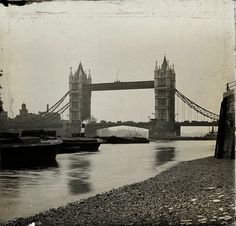 Tower Bridge with barges, c. 1910