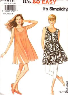 Misses' Leggings and Dress Size 6 - 20 Simplicity 7816 UNCUT